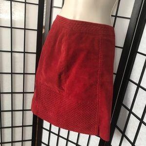 Anthropologie ETT twa Red Quilted Corduroy Skirt